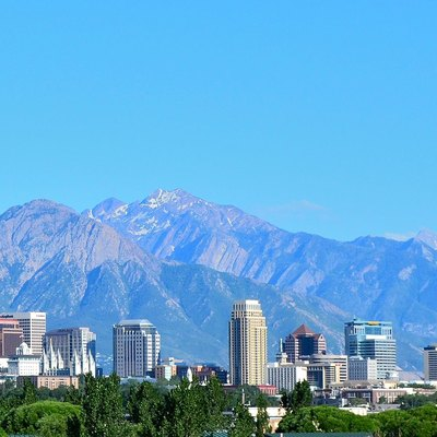 The skyline of Salt Lake City, Utah as seen in July 2011.
