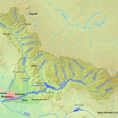 Map of the Salt River watershed, Arizona, USA