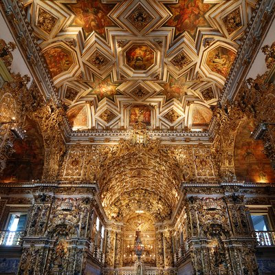Baroque interior of Saint Francis Church in Salvador, Bahia, Brazil