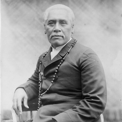 Portrait of Samoan Chief, Mata'afa Iosefo, 1896. Reference Number: PA1-o-469-52. Portrait of the Samoan Chief, Mata'afa Iosefo, photographed by Thomas Andrew/