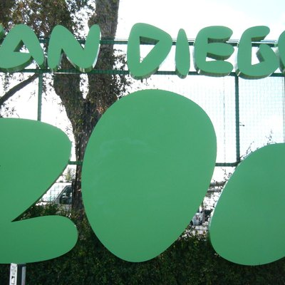 San Diego Zoo sign on street. Cropped slightly.