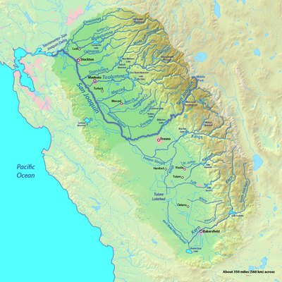 Map of the San Joaquin River watershed, which drains most of central inland California into the Pacific