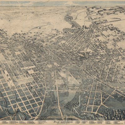 Bird's Eye View of San Antonio Bexar Co. Texas 1886 Looking East, 1886. Toned lithograph, 28 x 37 in. Lithographer unknown. Witte Museum, San Antonio.