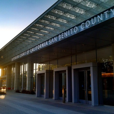 The main entrance of the San Benito County Courthouse, completed in 2014, Hollister, California.