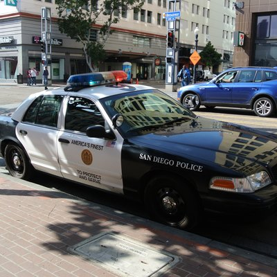 San Diego Police Department car in the city center.