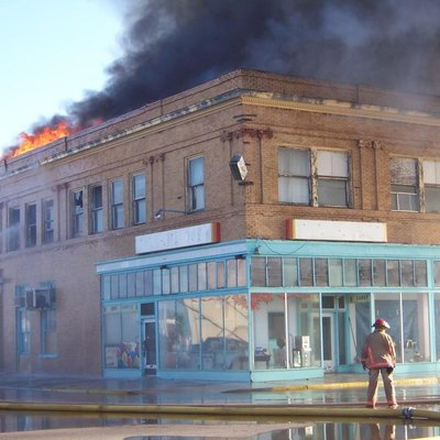 On June 8, 2007, Fire destroys the historic Federal Building (Sands Dorsey Drug), built ca. 1910, in Tucumcari, New Mexico.