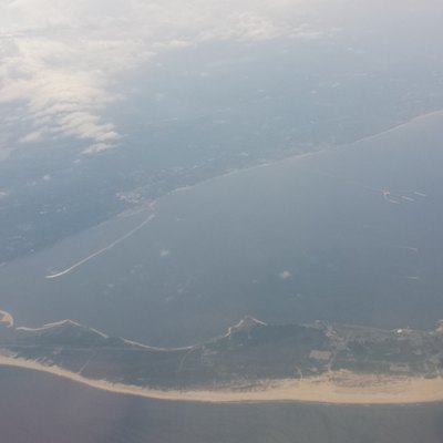 Sandy Hook seen from an airplane (looking west) on its approach to JFK
