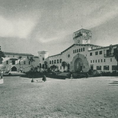The Santa Barbara County Courthouse in Santa Barbara, California. Dedicated in 1929, it was a major part of Santa Barbara's redevelopment into a Spanish themed city in the 1920s. Picture taken from the book, Santa Barbara: Tierra Adorada (A Community History) 1930.