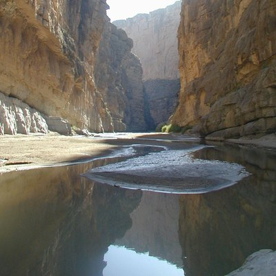 The Rio Grande, separating Mexico from the U.S., within the massive 1,500 foot high walls of Santa Elena Canyon.