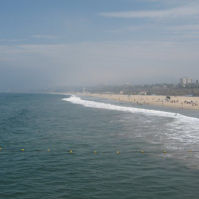 Santa Monica State Beach and bay - from Santa Monica Pier