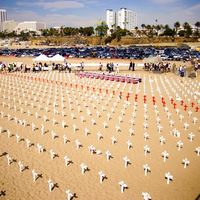 Remembering those we've lost in the Iraq War. Santa Monica Beach, California.