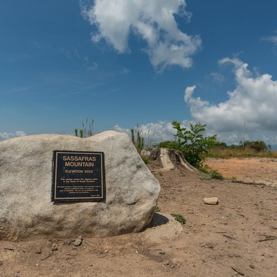A view of the elevation marker on Sassafras Mountain, the highest point in South Carolina