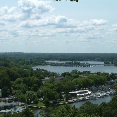 View of the Kalamazoo River and downtown Saugatuck, MI from atop Mt. Baldhead.