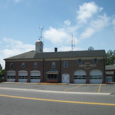 Sayville Fire Department As Seen From Lincoln Avenue In Sayville, New York.