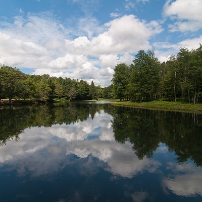 A view of Science Lake in Allegany State Park. The park is located near the city of Salamanca in Cattaraugus County in the southwestern part of New York State.
