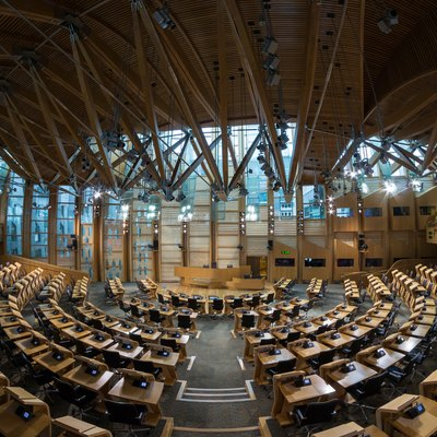 The debating chamber of the Scottish Parliament Building.