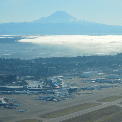 Sea Tac terminal buildings with Mt. Rainier in the background