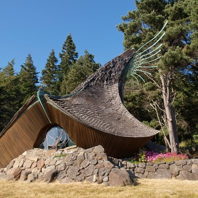 The Sea Ranch Chapel in Sea Ranch, California, a non-denominational chapel designed by James T. Hubbell.