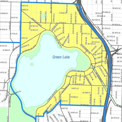 Map of Seattle's Green Lake neighborhood. Like the other maps from the Seattle City Clerk's Neighborhood Map Atlas, this is not an official map; in particular, borders are not official.