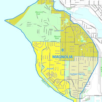 Map of the Seattle's Magnolia neighborhood. Like the other maps from the Seattle City Clerk's Neighborhood Map Atlas, this is not an official map; in particular, borders are not official.