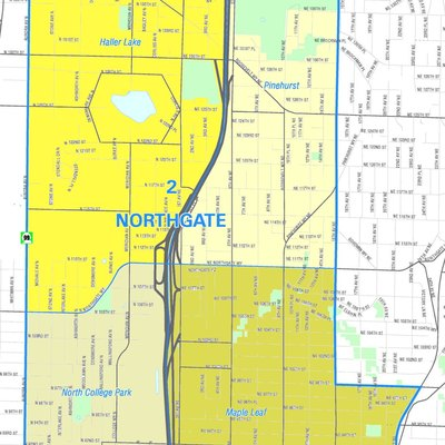 Map of Seattle's Northgate neighborhood. Like the other maps from the Seattle City Clerk's Neighborhood Map Atlas, this is not an official map; in particular, borders are not official.