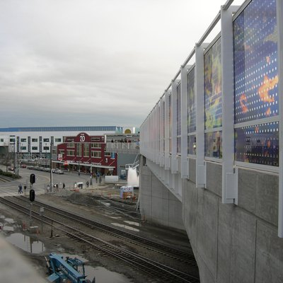 Teresita Fernandez, Seattle Cloud Cover, Olympic Sculpture Park, Seattle, Washington. Pier 70 in background at left.