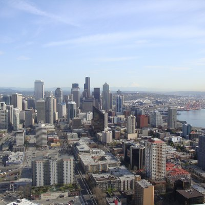 Downtown Seattle, Washington as seen from the w:Space Needle in March 2010.