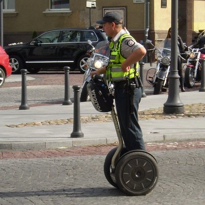 A police officer using segway in Vilnius.