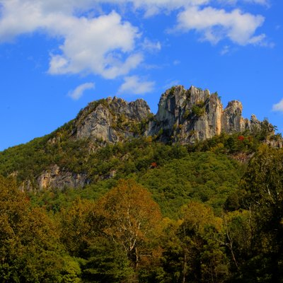 Seneca Rocks, WV in the Autumn of 2013. This image was made by merging 7 different exposures with Photomatrix Pro software