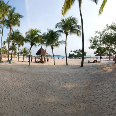 A stitched panorama of Tanjong Beach on Sentosa island, Singapore.