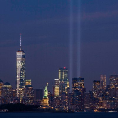 September 11th Tribute in Light from Bayonne, New Jersey.