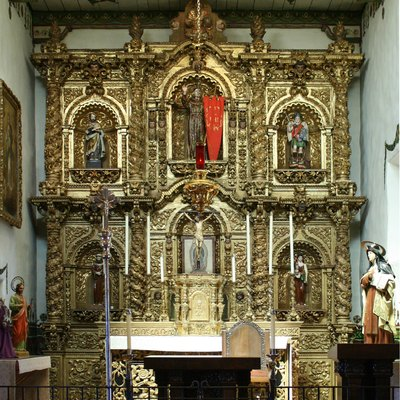 Baroque altar of the Serra Chapel at the Mission San Juan Capistrano, San Juan Capistrano, California