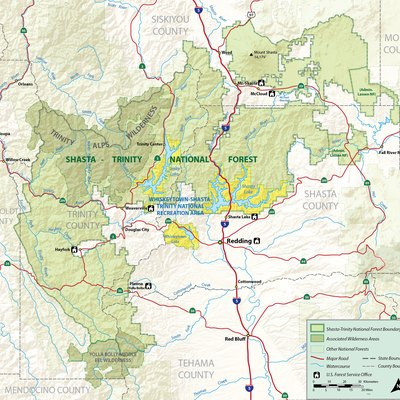 Map of the Shasta-Trinity National Forest in Northern California, including the Whiskeytown-Shasta-Trinity National Recreation Area. Shaded relief and boundary data from USGS National Map (Public domain).
