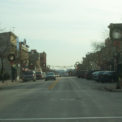 Historic 8th Street in downtown Sheboygan, Wisconsin, USA.