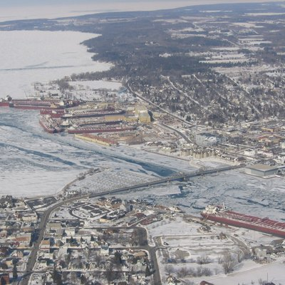 Aerial view of Sturgeon Bay, during the winter.
