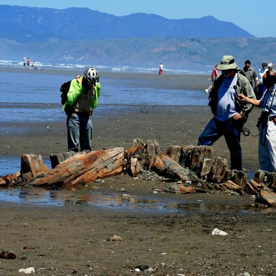 Shipwreck of The King Philip that went down around 1878. Sometimes the ocean shows that boat. Last time she appeared at the beach in 1980. The picture was taken at Ocean Beach, San Francisco