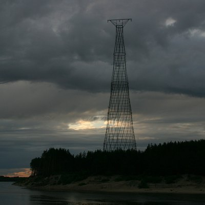 The hyperboloid tower (electricity pylon) on the Oka River was designed by the great Russian engineer and scientist Vladimir Shukhov (1853-1939) in 1929. It is located in Russia, on the left bank of the Oka River near Dzerzhinsk (a western suburb of Nizhniy Novgorod).