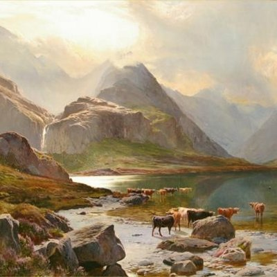 Loch Coruisk, Isle of Skye Oil on canvas, 45 1/2 x 71 1/2 inches