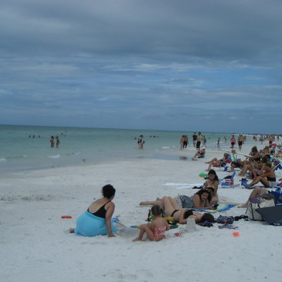 A view of Siesta Beach in Siesta Key, Florida looking north