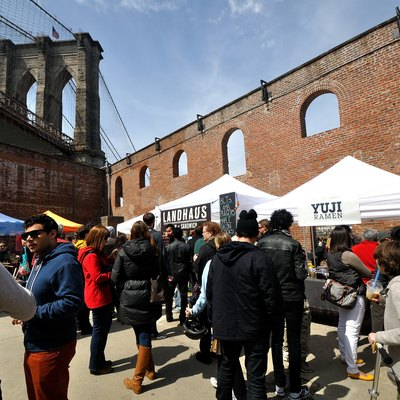 Smorgasburg, a regular market of local food options, in the Dumbo neighborhood of Brooklyn, New York