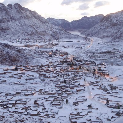 Snow in the town of Saint Katherine, Sinai Egypt, on the morning of March 1, 2009.
