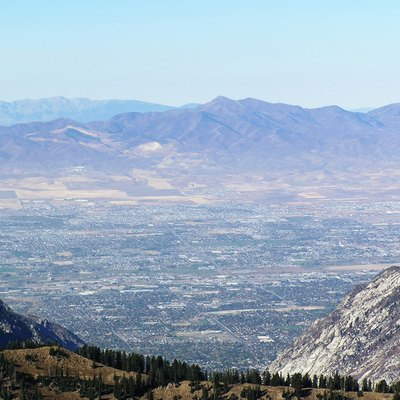 View of Salt Lake valley from 11,000 foot summit of Hidden Peak, reached via Snowbird tram.