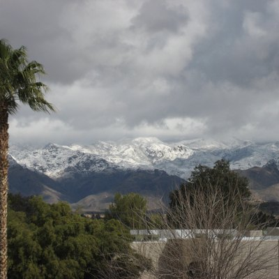 Snowy Santa Catalina Mountains, from the Catalina Foothills — in Pinal County, Arizona.
