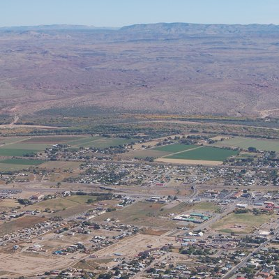 A view of part of Socorro, New Mexico. Aerial photograph, taken from an RV-6A aircraft flown out of Socorro's airport.