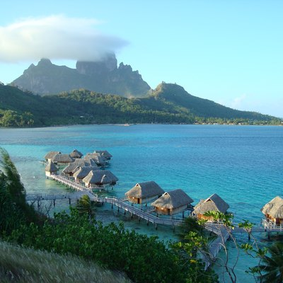 Sofitel Motu in Bora bora with Mount Otemanu in background