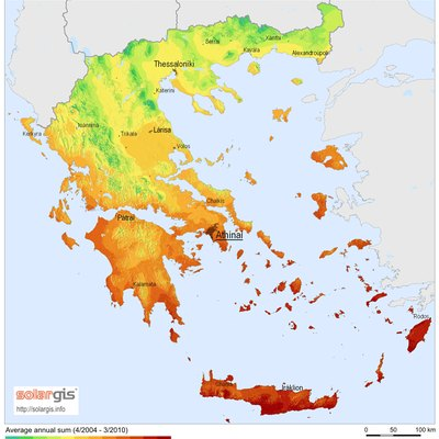 Solar Radiation Map: Global Horizontal Irradiation Map of Greece, SolarGIS 2011
