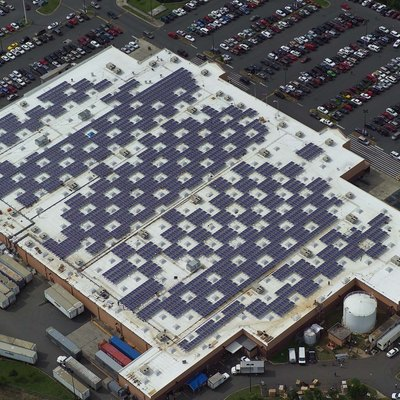 The Walmart Supercenter in Caguas, Puerto Rico is one of five Walmart facilities on the island equipped with solar panels. In addition to Caguas, Walmart added solar to sites in Manati, Bayamon and two in Ponce. Walmart has a company wide goal to be supplied for 100% renewable energy and projects like this are helping move the company closer to its goal.
