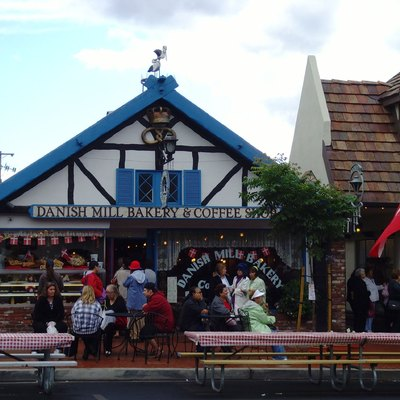 Solvang, California. Danish Mill Bakery with storks on the roof.