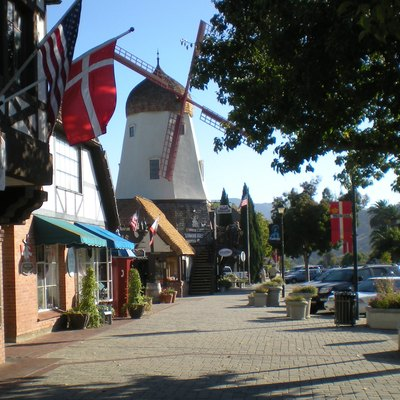 Solvang, California, with Danish style windmill and Danish flags