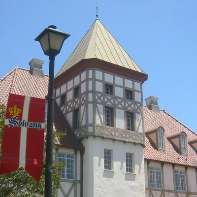 Danish architecture in Solvang, California, with Solvang flag